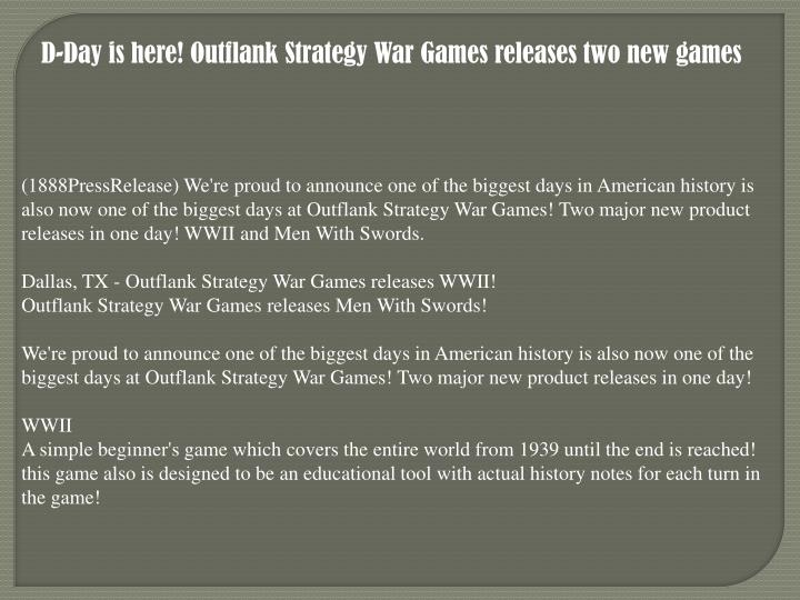 D-Day is here! Outflank Strategy War Games releases two new games