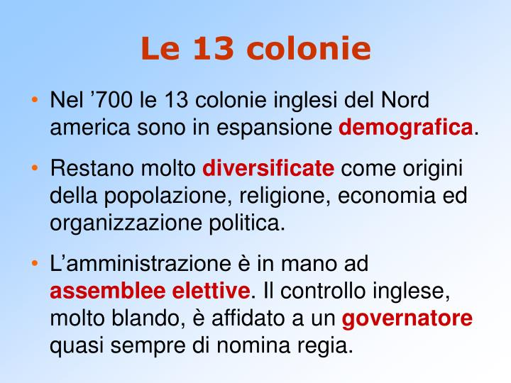 Le 13 colonie