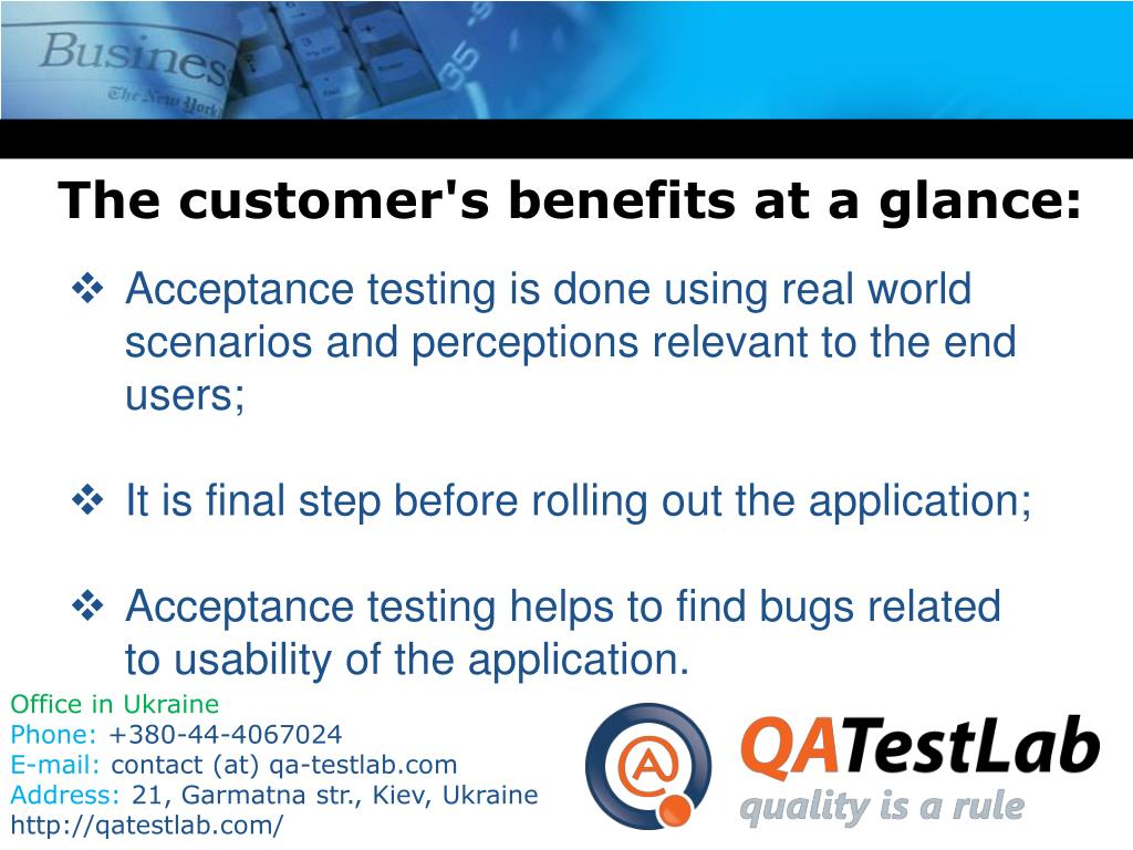 The customer's benefits at a glance: