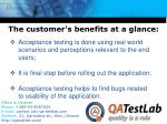 the customer s benefits at a glance