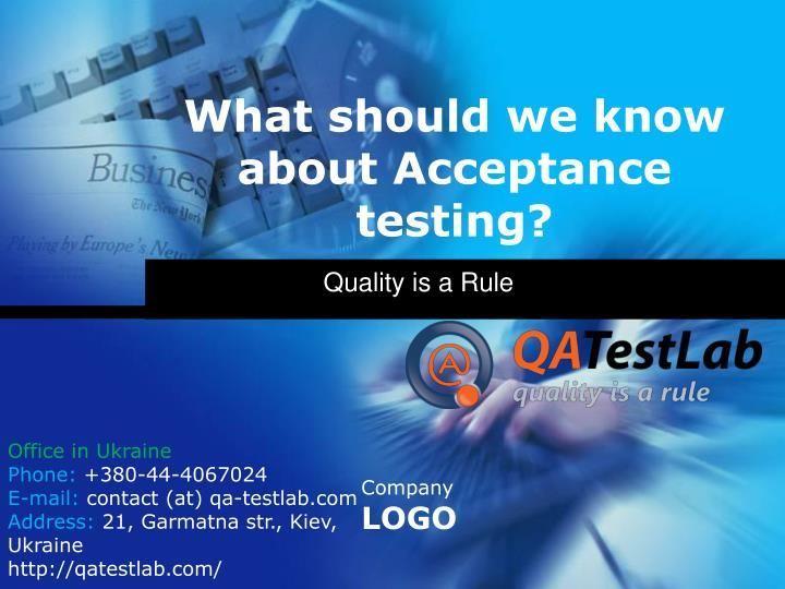 What should we know about acceptance testing