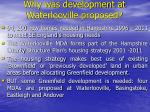 why was development at waterlooville proposed