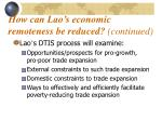 how can lao s economic remoteness be reduced continued2