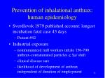 prevention of inhalational anthrax human epidemiology