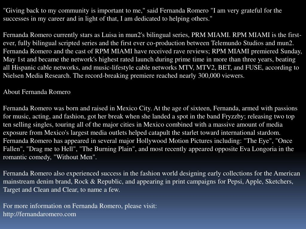"""""""Giving back to my community is important to me,"""" said Fernanda Romero """"I am very grateful for the successes in my career and in light of that, I am dedicated to helping others."""""""