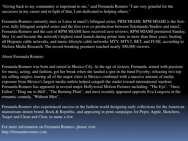 """""""Giving back to my community is important to me,"""" said Fernanda Romero """"I am very grateful for the s..."""