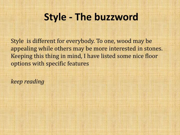 Style the buzzword