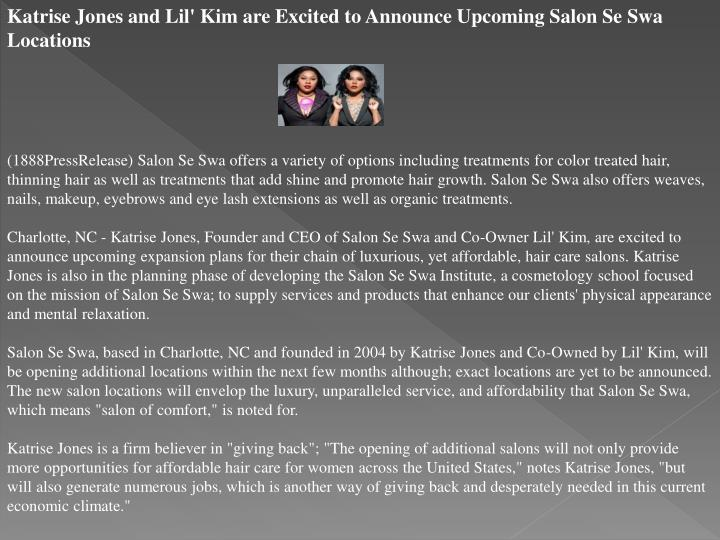Katrise Jones and Lil' Kim are Excited to Announce Upcoming Salon Se Swa Locations