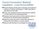 current connecticut bullying legislation local accountability
