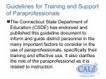 guidelines for training and support of paraprofessionals