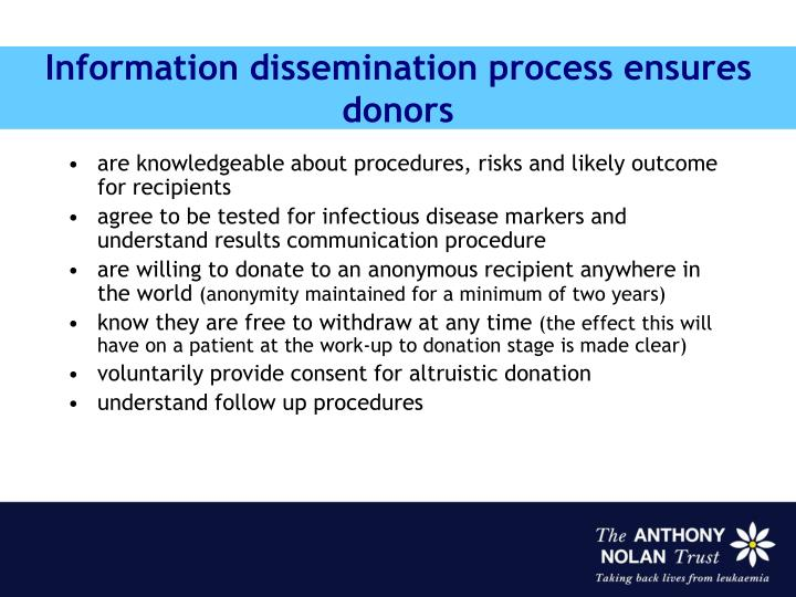 Information dissemination process ensures donors