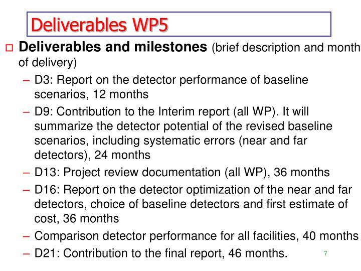 Deliverables WP5
