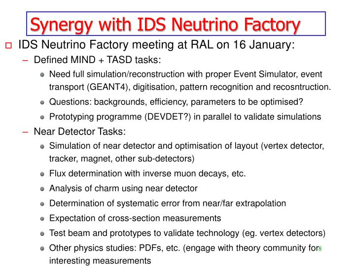 Synergy with IDS Neutrino Factory