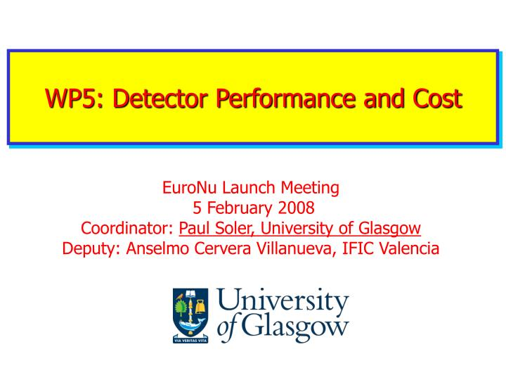 Wp5 detector performance and cost