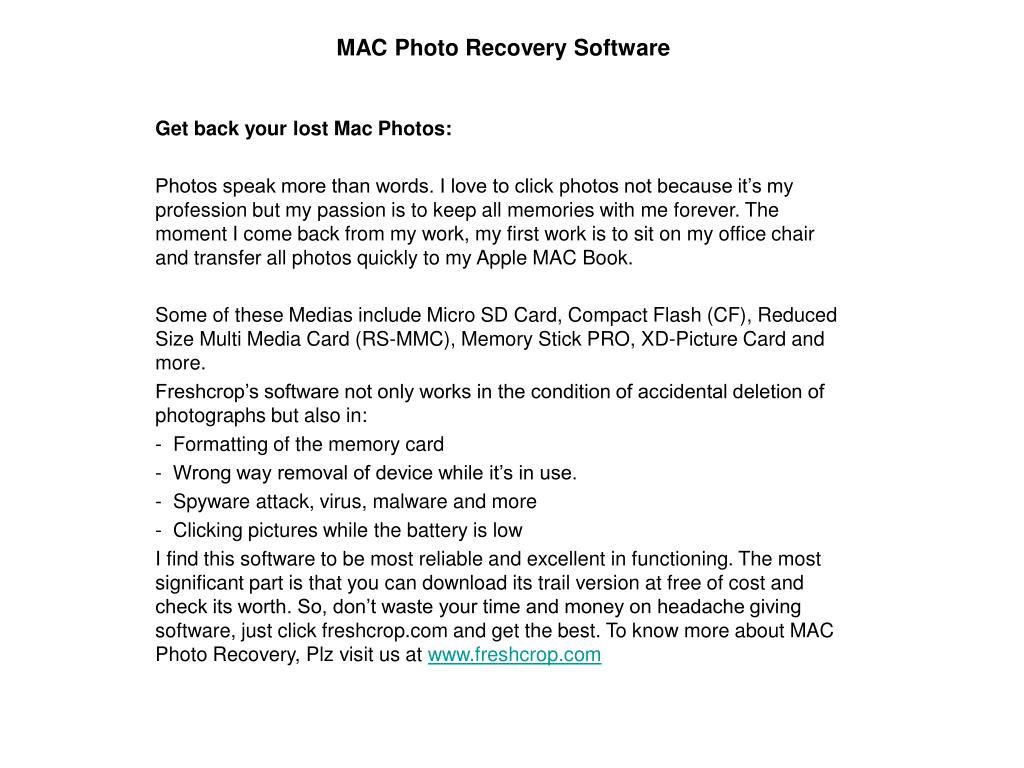 MAC Photo Recovery Software