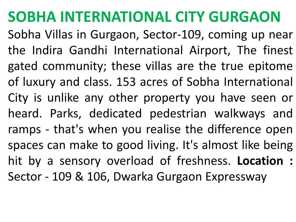 SOBHA INTERNATIONAL CITY GURGAON