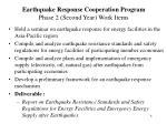 earthquake response cooperation program phase 2 second year work items