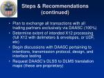 steps recommendations continued