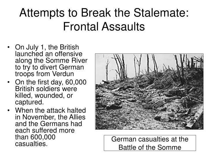 Attempts to Break the Stalemate: Frontal Assaults