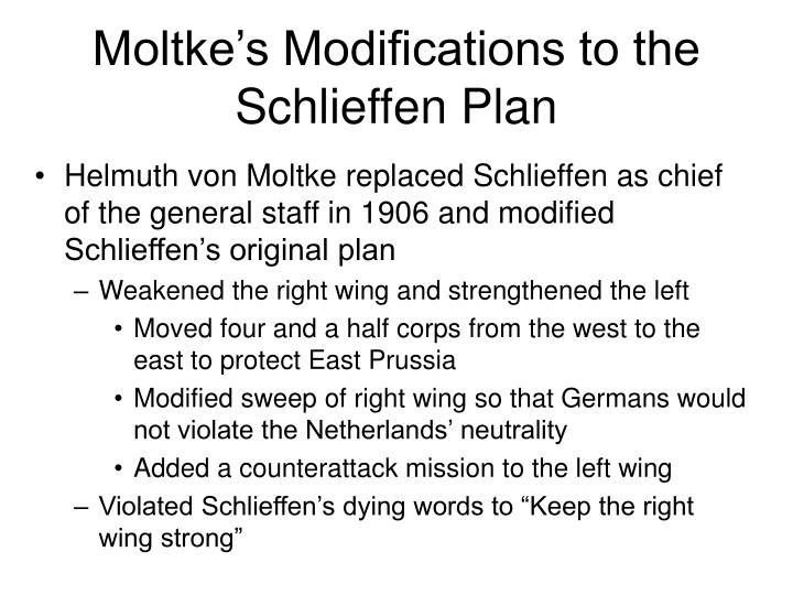 Moltke's Modifications to the Schlieffen Plan