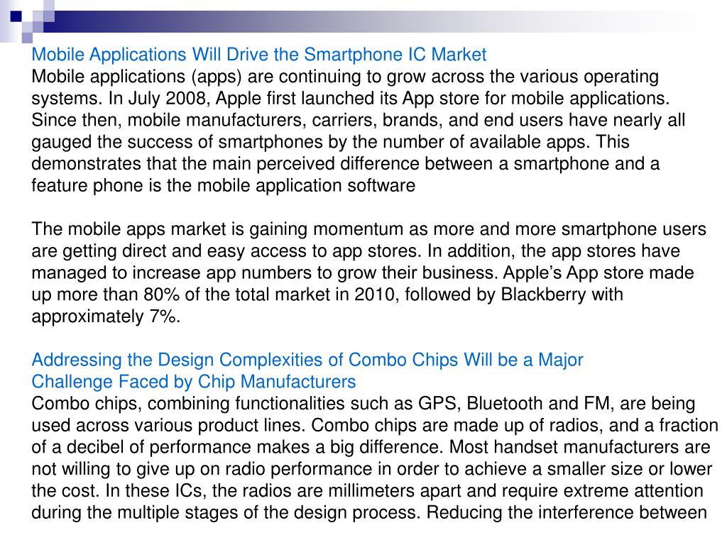 Mobile Applications Will Drive the Smartphone IC Market
