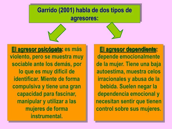 Garrido (2001) habla de dos tipos de agresores: