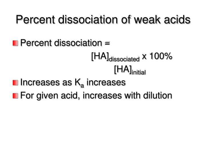 determination of dissociation constant for a weak acid by using spectrophotometer Determination of the dissociation constant of weak acids kyle miller using this equation with the the acid so that we can precisely divide the solution into.