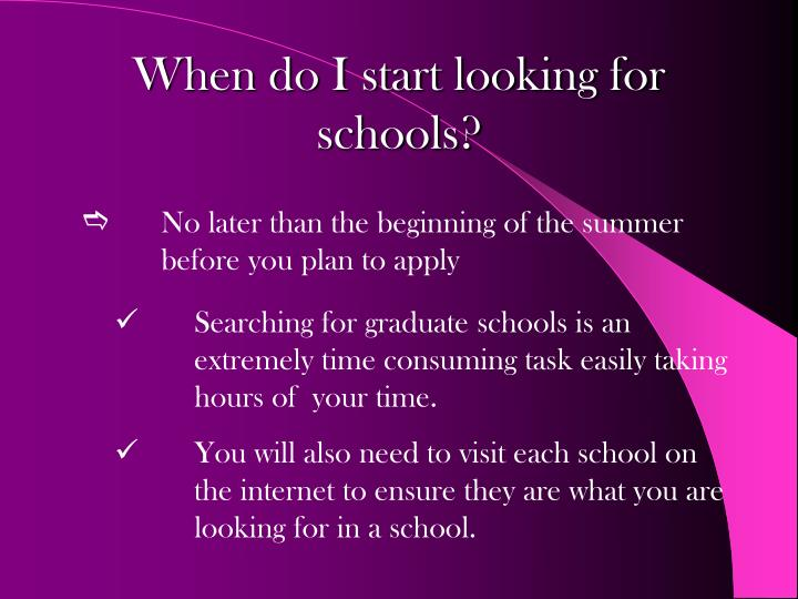 When do i start looking for schools