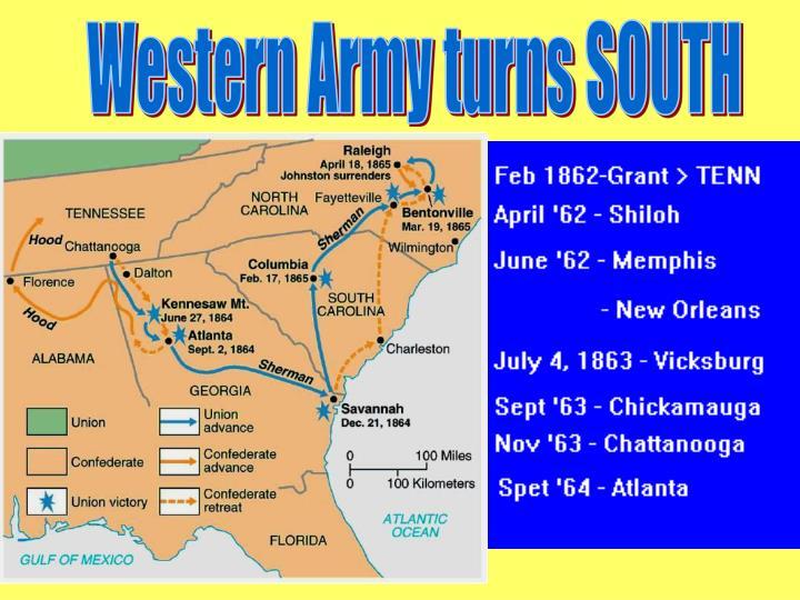 Western Army turns SOUTH