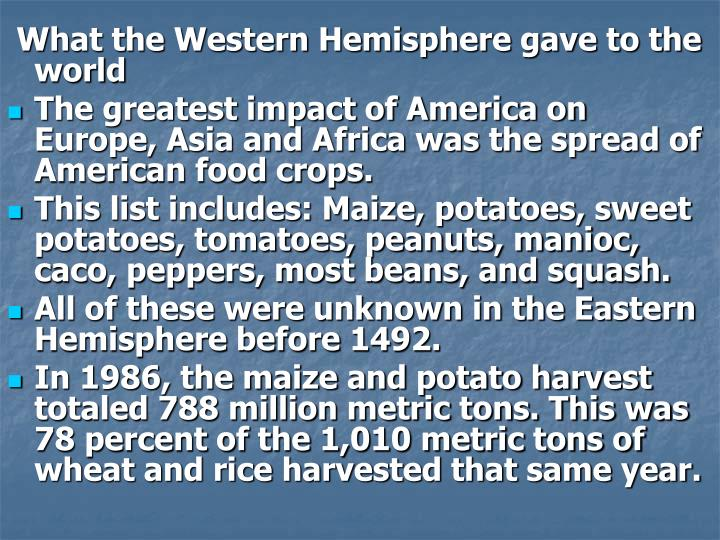 What the Western Hemisphere gave to the world