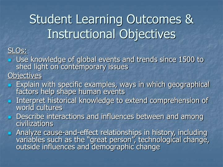 Student learning outcomes instructional objectives