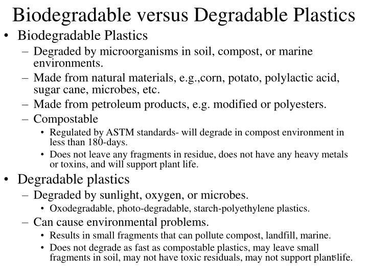 Biodegradable versus Degradable Plastics