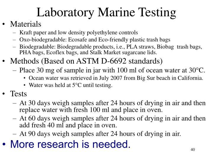 Laboratory Marine Testing