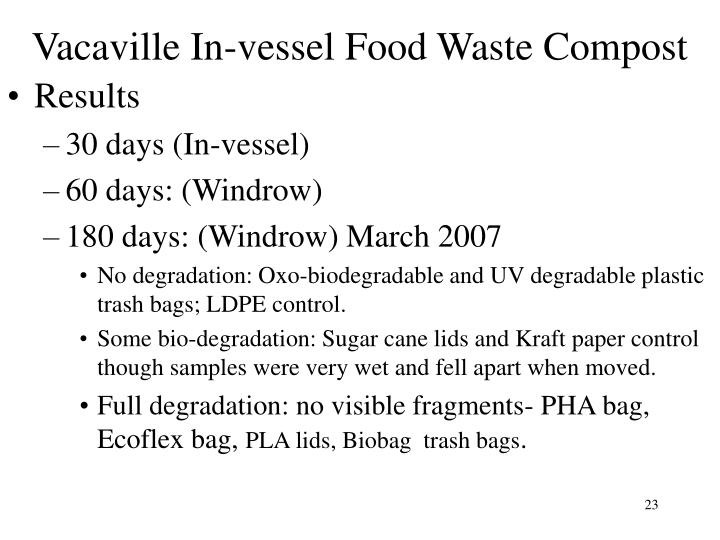 Vacaville In-vessel Food Waste Compost