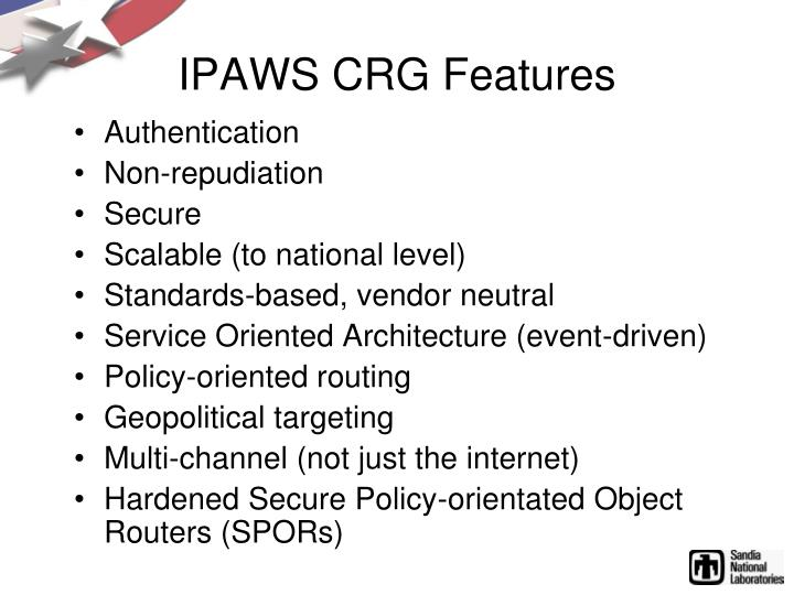 IPAWS CRG Features