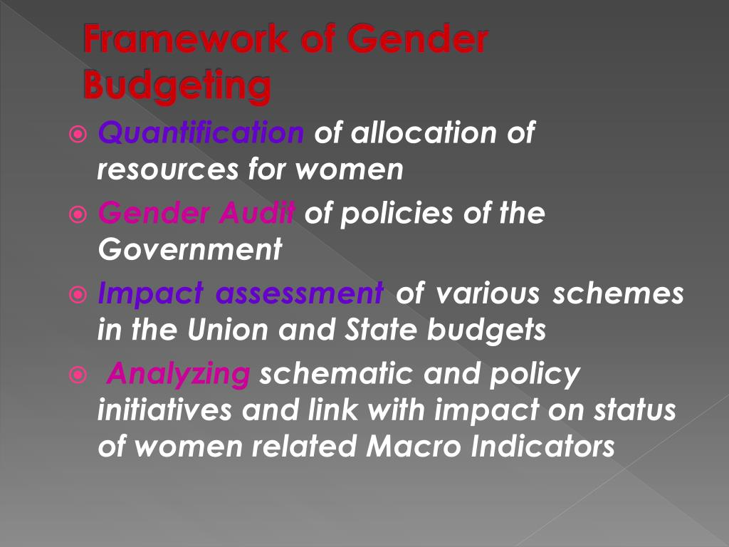 Framework of Gender Budgeting