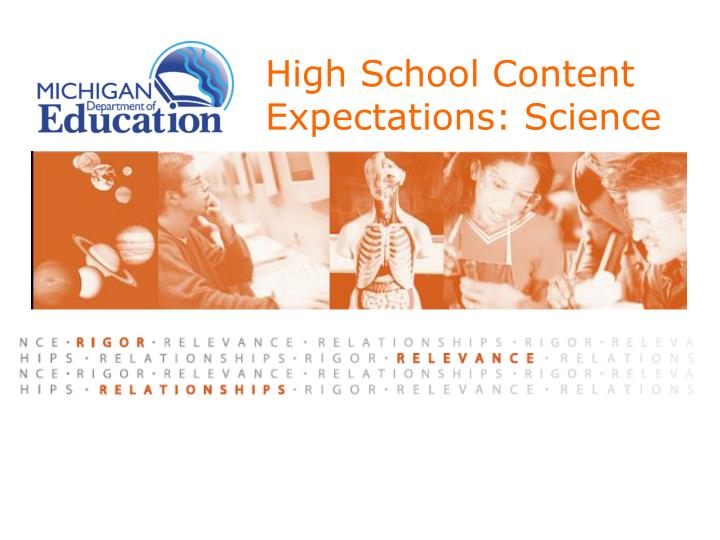 High school content expectations science