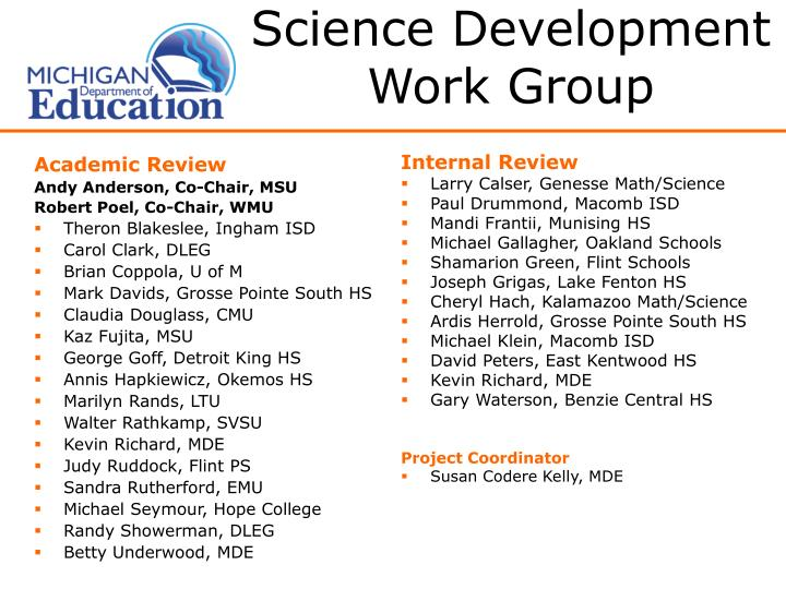 Science Development Work Group