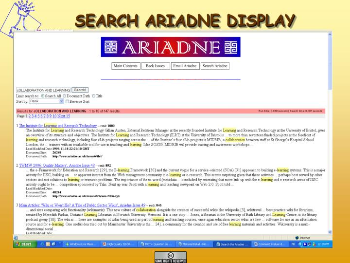 SEARCH ARIADNE DISPLAY