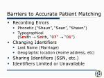 barriers to accurate patient matching