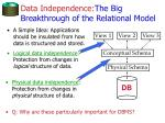 data independence the big breakthrough of the relational model