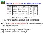 ex an instance of students relation