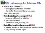 sql a language for relational dbs