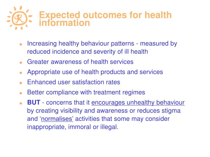 Expected outcomes for health information