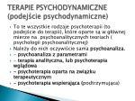 terapie psychodynamiczne podej cie psychodynamiczne