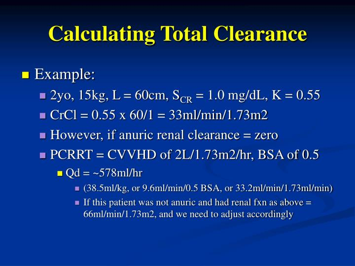 Calculating Total Clearance