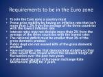 requirements to be in the euro zone
