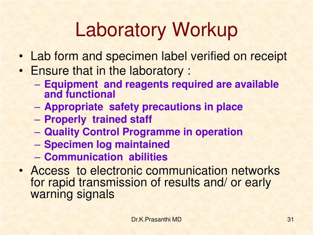 Laboratory Workup