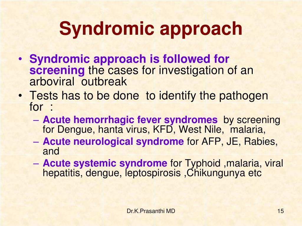 Syndromic approach
