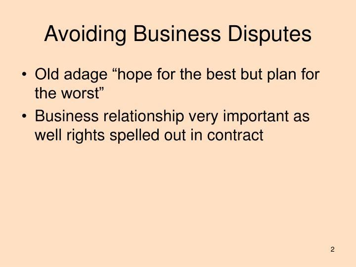 Avoiding business disputes